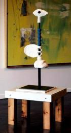 "'Blue Turn"", 2012, Wood, Ceramic and Steel, 40""H x 15""D x 15""W"